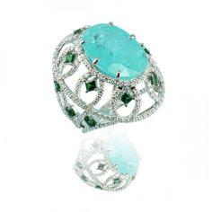18K White gold ring with Paraiba, Tsavorite and white Diamonds by Caroline C