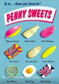 Penny Sweets Card at Tom Dickins Fine Art 1970s Childhood, My Childhood Memories, Sweet Memories, Old Sweets, Vintage Sweets, Retro Sweets Uk, Retro Recipes, Vintage Recipes, Penny Sweets