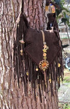 Handmade Brown Leather Fringe Bag Gold & Cloisonne Gypsy Boho ~  By ShellB #Handmade #ShoulderBag