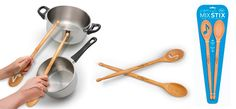 Every kitchen has its own rhythm, and now you can play along.  Mix Stix are classic indispensable beechwood spoons, with one end morphed into drumsticks. So now you can rock out while you're waiting for the water to boil, paradiddle on the stockpot and give that stainless mixing bowl a rim-shot.  The set includes one solid spoon and one slotted in a very unique way.