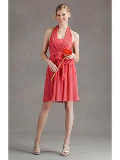 Crinkle Chiffon Flattering Halter Neckline Ruched Bodice A-line Bridesmaid Dress