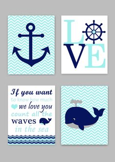 Baby Boy Nautical Nursery Decor, Nautical Baby Art Prints, Baby Ocean Decor,  Whale Wall Art, If You Want To Know, Count All The Waves, Love