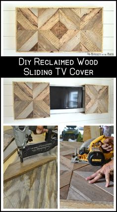 How to hide the television with a DIY sliding reclaimed wood cover wood projects projects diy projects for beginners projects ideas projects plans Hide Tv Over Fireplace, Fireplace Cover, Diy Fireplace, Reclaimed Wood Fireplace, Fireplace Update, Fireplace Remodel, Unique Home Decor, Home Decor Items, Tv Cover Up