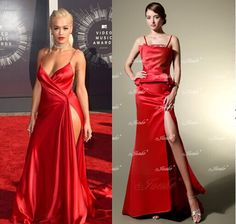 Rita Ora photographed on the red carpet at the 2014 MTV Video Music Awards in Inglewood, California.with a jueshe's dress comparison on the right. #evevningdress   #redcarpetdress