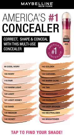 Correct, shape and conceal with this cult-classic concealer, Maybelline's Instant Age Rewind Concealer! Tap the pin to find your perfect shade. #concealer #drugstoreconcealer
