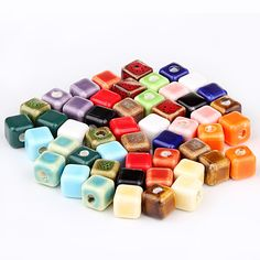 DIY Pure Color Square Ceramic Porcelain Spacer Beads TC008 Porcelain, Ceramics, Pure Products, Beads, How To Make, Diy, Color, Ceramica, Beading