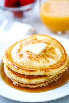 Delicious every time! You'll love these easy, light, fluffy homemade pancakes! Made with ingredients you already have in your pantry. Homemade Pancakes Fluffy, Pancakes Easy, Pancakes And Waffles, Fluffy Pancakes, Breakfast Dishes, Breakfast Recipes, Breakfast Ideas, Breakfast Casserole, Brunch Recipes
