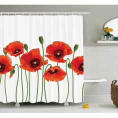 Free Shipping. Buy Floral Shower Curtain, Poppies of Spring Season Pastoral Flowers Botany Bouquet Field Nature Theme Art, Fabric Bathroom Set with Hooks, 69W X 84L Inches Extra Long, Red and Green, by Ambesonne at Walmart.com