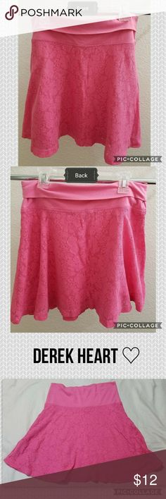 "Pink Lace Skater Skirt EUC 🔺 Two-layered skater skirt in pink. Waist band can be folded over to shorten the skirt. In like-new condition! Body: 60% cotton, 35% polyester, 5% spandex Lining: 100% polyester Waist band: 57% cotton, 38% polyester, 6% spandex (according to the tag...I know that adds up to 101%)  Length (lace part only) 13"" Waist 12.5"" Derek Heart Skirts Mini"