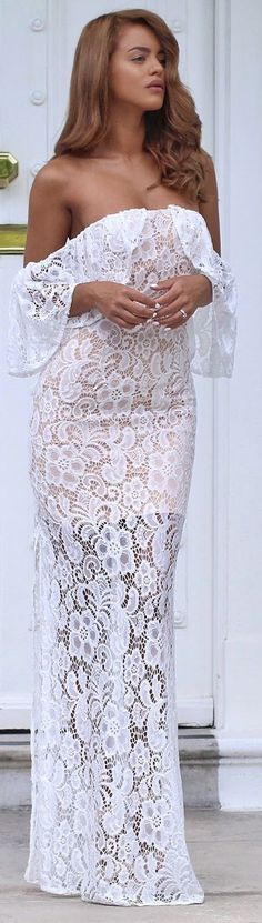 White Lace Strapless Gown by Nada Adellè