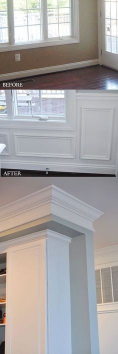 Adding picture frame wainscoting to a kitchen/dining room makes it so classy! Crown molding above the cabinets, too.