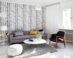 un salon blanc de style scandinave aux accents gris et noirs