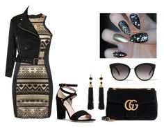 """""""black and gold"""" by ioanna20 on Polyvore featuring мода, Pilot, Gucci, River Island, Kenneth Jay Lane и Kate Spade"""