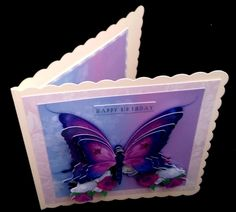 Purple Butterfly on Craftsuprint created by Diane  Hitchcox - After printing onto 240 gram card I mounted on a 7 by 7 card , added decoupage with sticky pads and attached insert.