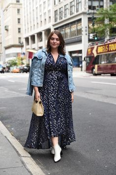 plus size street style featuring a blue metallic maxi dress