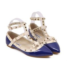 Trendy Style Rivets and Pointed Toe Design Flat Shoes For Women