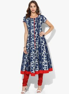Buy Sangria Navy Blue Hand Block Printed Anarkali With Short Sleeves for Women Online India, Best Prices, Reviews   SA038WA02ACJINDFAS