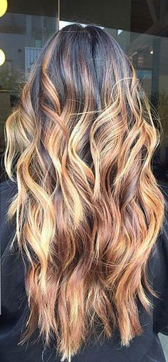 Warm Brown and Golden Blonde Balayage Highlights on Dark Hair