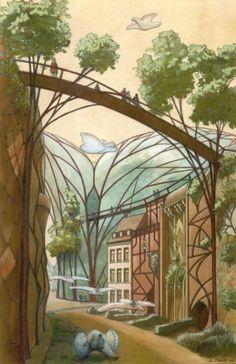 Voyage Voyage : Luc Schuiten, l'archiborescence de portée universelle Green Architecture, Organic Architecture, Architecture Design, Art Deco, Art Nouveau, Fantasy Landscape, Fantasy Art, Architecture Organique, Escalier Design