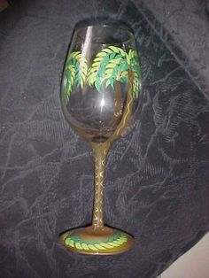 "Hand Painted Wine Glass Patterns | Lolita ""The Palm"" Hand Painted Wine Glass Very Tropical 