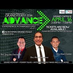 Go beyond your limits and experience a charged life! Don't miss this much awaited inspirational event in Northern Mindanao. Come with us on April 16. With Aben Garlan, Jing Sto. Domingo and K Preacher Alvin Barcelona!  Buy your Tickets Now. Contact Mike Martinez at 0905.792.6945  Email : nmgrandfeast@gmail.com Tickets are also available at The Feast CDO on April 9 at SM Cinema 3. 4:00pm and 6:15pm sessions.  VIP: P500 | General Admission: P200 See you there! #NMGF2016 (share and invite)