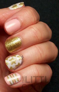 The Little Canvas: Pink and Gold Princess-y Star Manicure