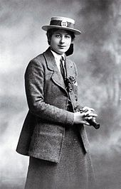 Crime fiction writer Ngaio Marsh (school prefect) in her St. Margaret's College school uniform, between 1910 and 1914. From Wikipedia.
