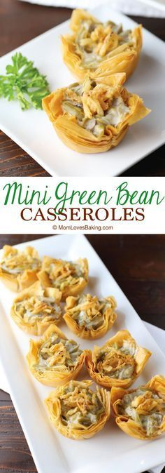 Mini Green Bean Casseroles are a fun twist on the traditional side dish served at the holidays. Recipe on MomLovesBaking.com. AD