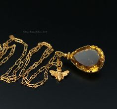 Gorgeous, natural Whisky Yellow Brazilian Quartz Pendant necklace in 14k gold fill