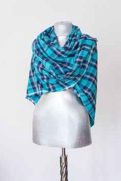 Scarf - Handmade Plaid Blanket Scarf - Cotton - Turquoise Navy Blue White - Winter Autumn Scarf - Men Women Unisex XXL Scarf