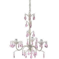 @Ruth H. Thompson Pink Crystal Antique White Mini Chandelier Pendant for Girls Room Nursery