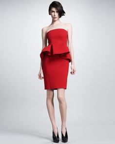 Strapless Peplum Dress by @LANVIN Paris