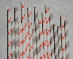 Coral Pink & Grey Paper Straws, 200 Pack