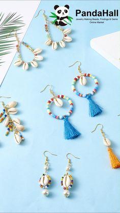 Diy Fabric Jewellery, Beaded Jewelry Patterns, Bead Jewellery, Beading Jewelry, Handmade Wire Jewelry, Seashell Jewelry, Handmade Jewelry Designs, Handmade Earings, Diy Bracelets Easy