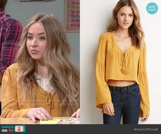Maya's yellow peasant top on Girl Meets World.  Outfit Details: http://wornontv.net/50543/ #GirlMeetsWorld