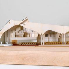 Alvar Aalto. Church of the Three Crosses, Vuoksenniska, Imatra, Finland, 1955–58. Plastic, cardboard, and synthetic polymer paint, 15 × 30 × 54″ (38.1 × 76.2 × 137.1 cm). Model Makers: Richard Sturgeon, Derek Conde. Purchase