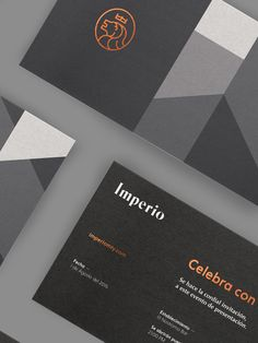 """Mexican branding consultancy Sabbath created this elegant corporate identity for """"Imperio"""", a new company in the entertainment industry focussed on """"bringing people an escape to the routine of everyday life"""".  More branding inspiration via FormFiftyFive"""