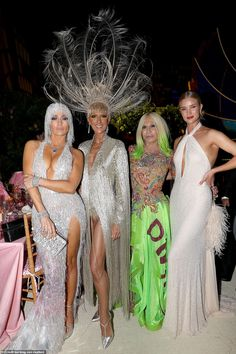 Quartet: My Heart Will Go On songstress Celine Dion (second from left) beamed as she posed near the event tables with (from left) Jennifer, Donatella Versace and Rosie Huntington-Whiteley Celine Dion, Joan Collins, Donatella Versace, Rosie Huntington Whiteley, Jeremy Scott, Gwen Stefani, Serena Williams, Jared Leto, Michael B. Jordan