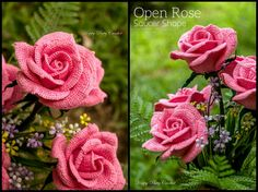Crochet Rose pattern by Happy Patty Crochet // An Open Rose of the Hybrid Tea family – very lush and attractive. Ideal for decorations and elegant appliques.