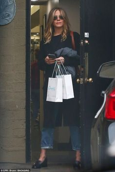 Beauty takes time: Jennifer Aniston was seen leaving the Canale Salon in Beverly Hills on ...