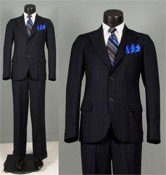 SALE Vintage 1930s Mens Suit  Navy Multi Stripe by jauntyrooster