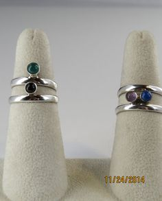 Sterling silver and gemstone  stacking rings