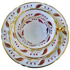 Rare Shelley Pink Gold Laurel Teacup, Saucer and Salad Plate Trio, : English bone china tea trio teacup