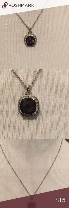 For my purple loving friends Beautiful purple gem surrounded by crystals.  Silver chain from 16-19 inches.  Pendant is about the size of a dime.  Gorgeous. Jewelry Necklaces