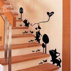 Lovely Cute Cats Playing and Love Heart Removable Wall Sticker on sale, Buy Retail Price Wall Stickers at Beddinginn.com