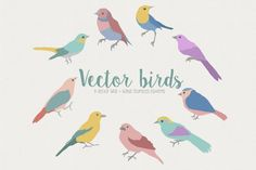 FREE We love this beautiful set of 9 cute bird illustrations. The pack comes with 9 editable EPS files, as well as 9 standard PNG and JPG files, allowing you to use them across all programs.