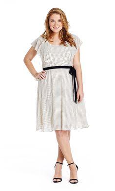 Ruffle Sleeve Dot Dress