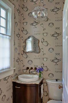 North Shore Home bathroom- I just love this wallpaper!: Buckingham I+D