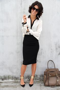 Street Chic - sometimes I miss wearing real clothes to work. Scrubs are comfy but not so glam. - Street Chic Looks Business Fashion, Business Outfits, Office Fashion, Office Outfits, Mode Outfits, Work Fashion, Business Wear, Business Casual, Office Attire