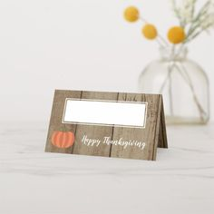 Rustic Pumpkin Faux Wood Fall Happy Thanksgiving Place Card